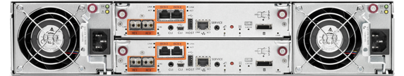 Rear View with GbE iSCSI Ports and Fibre Channel Ports